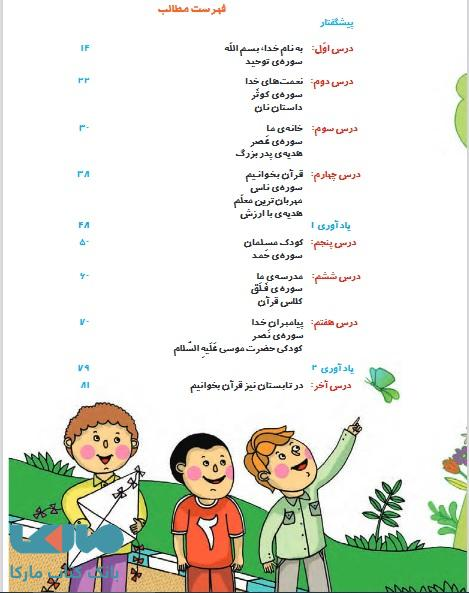 فهرست قرآن اول ابتدایی درسی