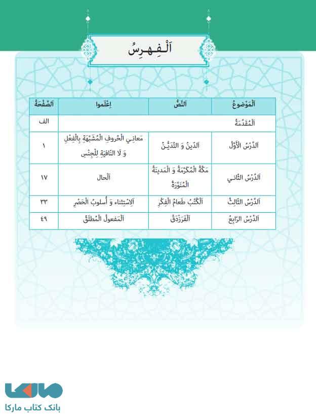 فهرست کتاب درسی عربی، زبان قرآن 3 دوازدهم تجربی - ریاضی